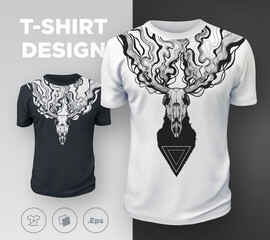 Abstract modern t-shirt print design with dead deer.