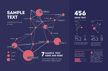 Futuristic infographic. Information aesthetic design. Complex data threads graphic visualization. Abstract data graph