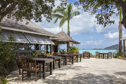 Typical restaurant surrounded by the Caribbean Sea Ffryes Beach Sheer Rocks Antigua and Barbuda Leeward Island West Indies
