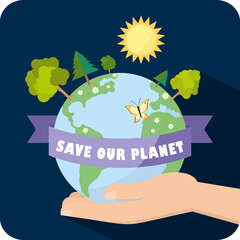 Save our planet vector illustration ecology concept