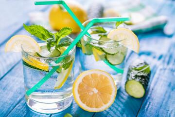 Refreshing lemonade of lemon, cucumber and mint