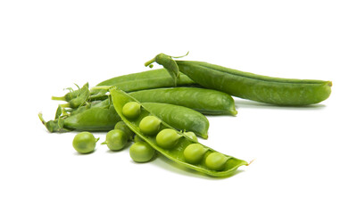 Green young peas isolated