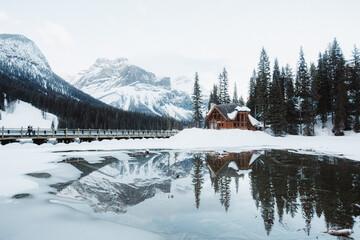 Lodge near Emerald Lake in winter