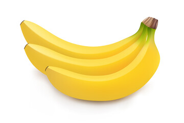 Realistic illustration of bunch of bananas isolated on white background, banana icon, banana image, vector illustration