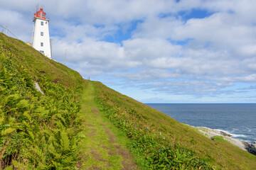 Vardo Lighthouse on the arctic bird colony island Hornoya, Finnmark, Norway