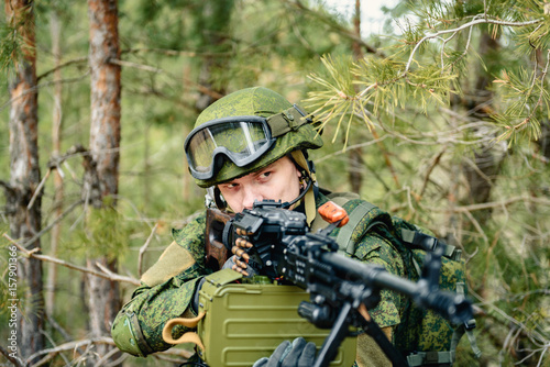 Portrait of a Russian soldier in modern military uniforms