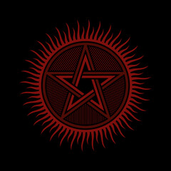 Pentagram Flat Vector / Ancient Symbol