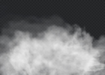 Poster Smoke Fog or smoke isolated transparent special effect. White vector cloudiness, mist or smog background. Vector illustration