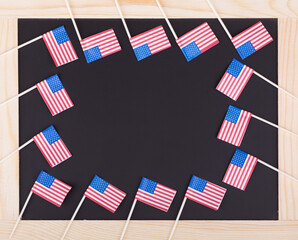 American Flags on a Chalk Board
