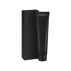 Vector plastic tube with black box for medicine or cosmetics - cream, gel, skin care, toothpaste. Packaging mockup template