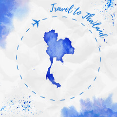 Fotobehang Schilderingen Thailand watercolor map in blue colors. Travel to Thailand poster with airplane trace and handpainted watercolor Thailand map on crumpled paper. Vector illustration.