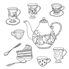 Honey tea with cups .Hand drawn vector illustration
