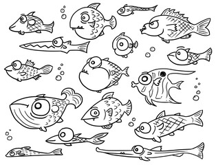 Cartoon Vector Collection Set of Hand Drawn Cute Fish