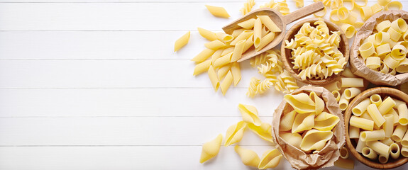 Pasta: pens, shells, rigatoni, fusilli and squid