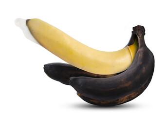 Condom on a yellow banana