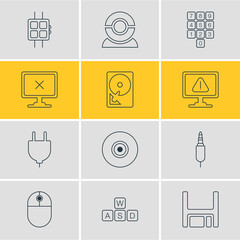 Vector Illustration Of 12 Laptop Icons. Editable Pack Of Objective, Modern Watch, Socket And Other Elements.