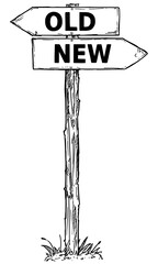 Cartoon Vector Direction Sign with Two Decision Arrows Old and New