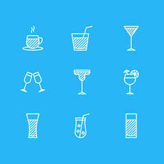 Vector Illustration Of 9  Icons. Editable Pack Of Cocktail, Tea Cup, Juice And Other Elements.