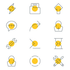 Vector Illustration Of 12 UI Icons. Editable Pack Of Approved Profile, Hourglass, Share And Other Elements.