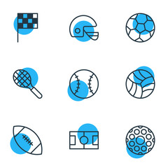 Vector Illustration Of 9 Athletic Icons. Editable Pack Of Touchdown, Finish, Helmet And Other Elements.