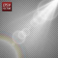 Vector transparent sunlight special lens flare light effect.