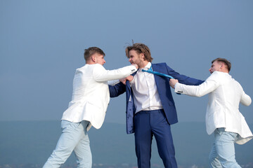 businesspeople have competition, businessman, team in white outfit fighting outdoor