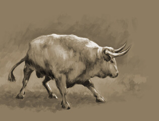 Painted aggressive bull