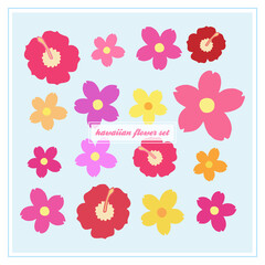 Hawaiian flower vector set, hibiscus and oleander blossom icons, colorful floral set. Vector illustration doodle cartoon drawing collection.