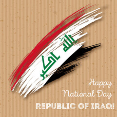 Republic of Iraq Independence Day Patriotic Design. Expressive Brush Stroke in National Flag Colors on kraft paper background. Happy Independence Day Republic of Iraq Vector Greeting Card.