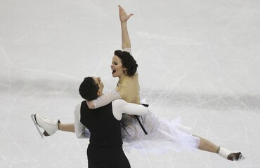 Cappellini and Lanotte of Italy perform during the ice dance short dance program at the ISU European Figure Skating Championship in Bratislava