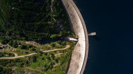 Aerial view of Dam of Vilarinho da Furna on Rio Homem, Portugal