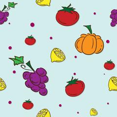 pattern fruit grape lemon pumpkin tomato