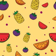 pattern fruit mangosteen pineapple watermelon orange