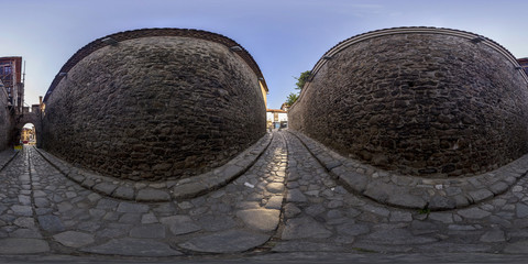 360 degrees panorama of Hisar kapiya gate in Plovdiv, Bulgaria