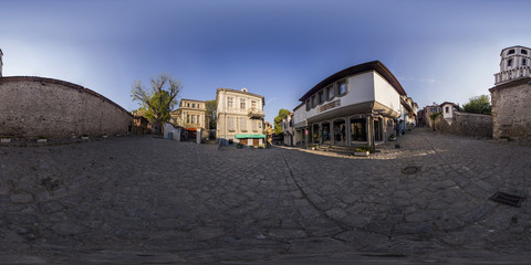 360 degrees panorama of Hisar kapiya square in Plovdiv, Bulgaria