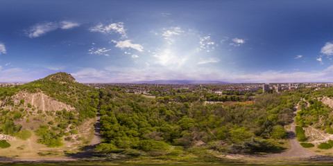 360 degrees aerial panorama of the Dzhendem tepe also known as Youth hill in Plovdiv, Bulgaria