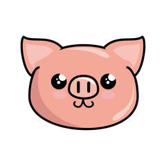 kawaii piggy animal icon over white background. colorful design. vector illustration
