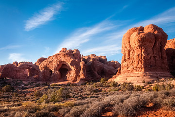 Double Arch and the South Window in Arches National Park, Utah, USA.