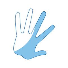 hand showing five fingers, high five sign gesture vector illustration