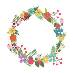 beautiful wreath elegant floral leaves and flowers vector illustration
