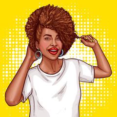 vector pop art illustration of a black woman singer holding a