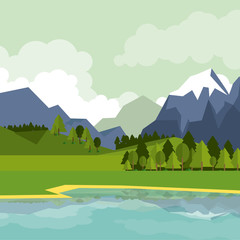 Keuken foto achterwand Lime groen colorful background of natural landscape with mountains and lake vector illustration
