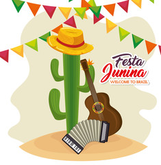 Cactus with hat guitar and accordion over white background festa junina vector illustration