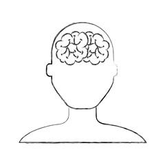 sketch draw brain faceless man cartoon vector graphic design