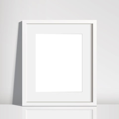 Realistic Empty White Picture Frame Mockup