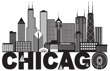 Chicago City Skyline Text Black and White vector Illustration
