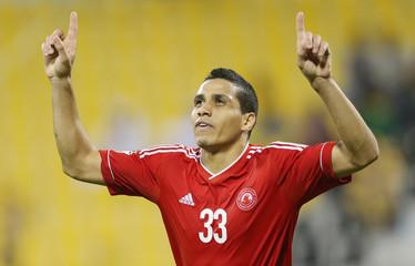 Al Arabi SC Wanderley Santos celebrates after scoring a goal