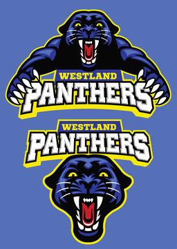 set of black panther mascot
