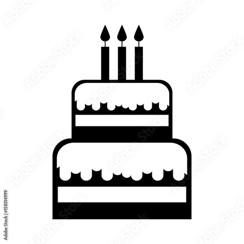 Black Icon Birthday Cake Cartoon Vector Graphic Design