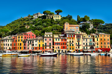 Colorful buildings of Portofino reflecting on the harbor